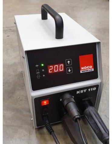 Köco KST 110 115 V/230 V kondensaator-põhimõttega poldikeevitusseadme komplekt, sisaldab ESP 1 K püstolit ja 3m maanduskaableid. Poltidele Fe, SS, AL, CU 3-10mm.